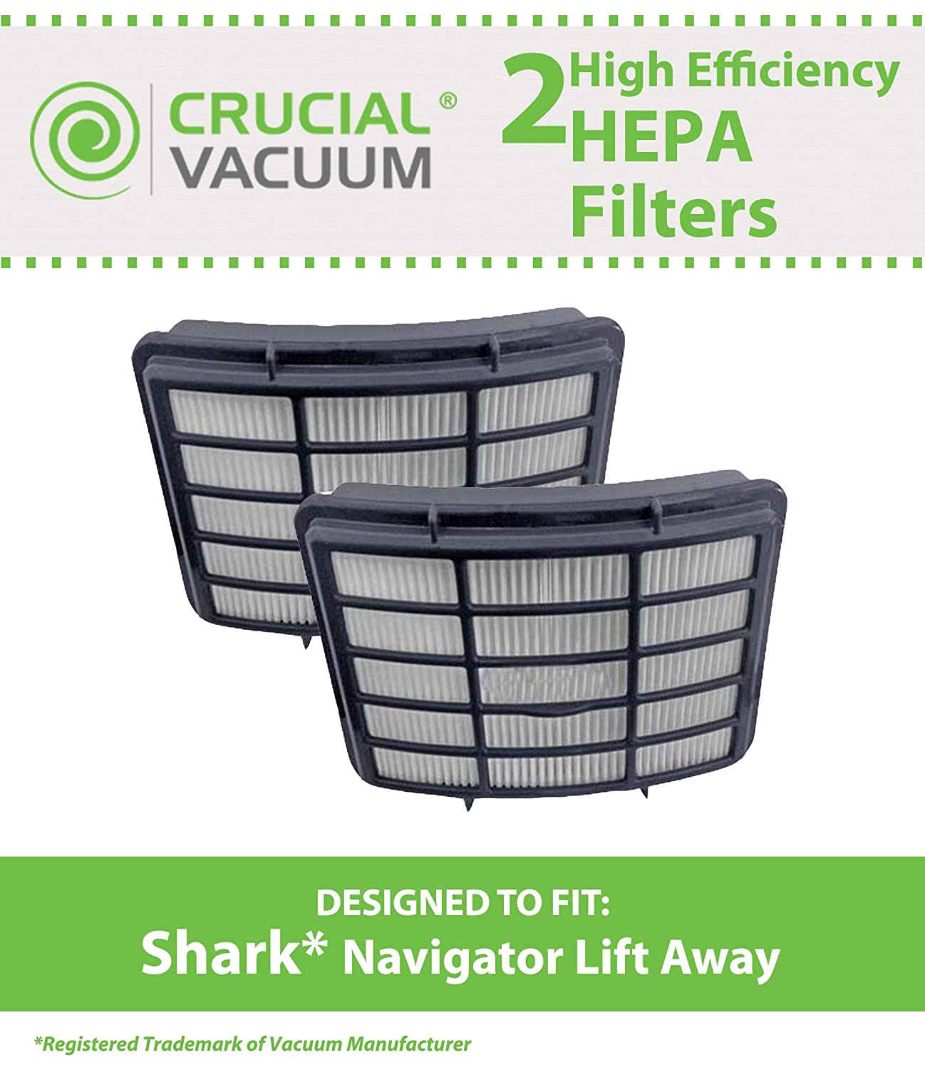 2 Replacements for Shark NV350 HEPA Style Filter Fits Navigator Lift-Away, Compatible With Part # XHF350, by Think Crucial
