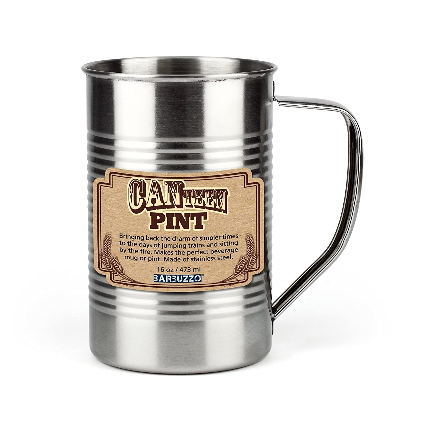 Barbuzzo CANteen Stainless Steel Pint Glass, 16 Ounces - Go Vintage, Go Retro, Go Crazy with this Fun and Durable Drinking Item that Goes Anywhere You and Your Friends Want to Have a Drink UTU3GI0053