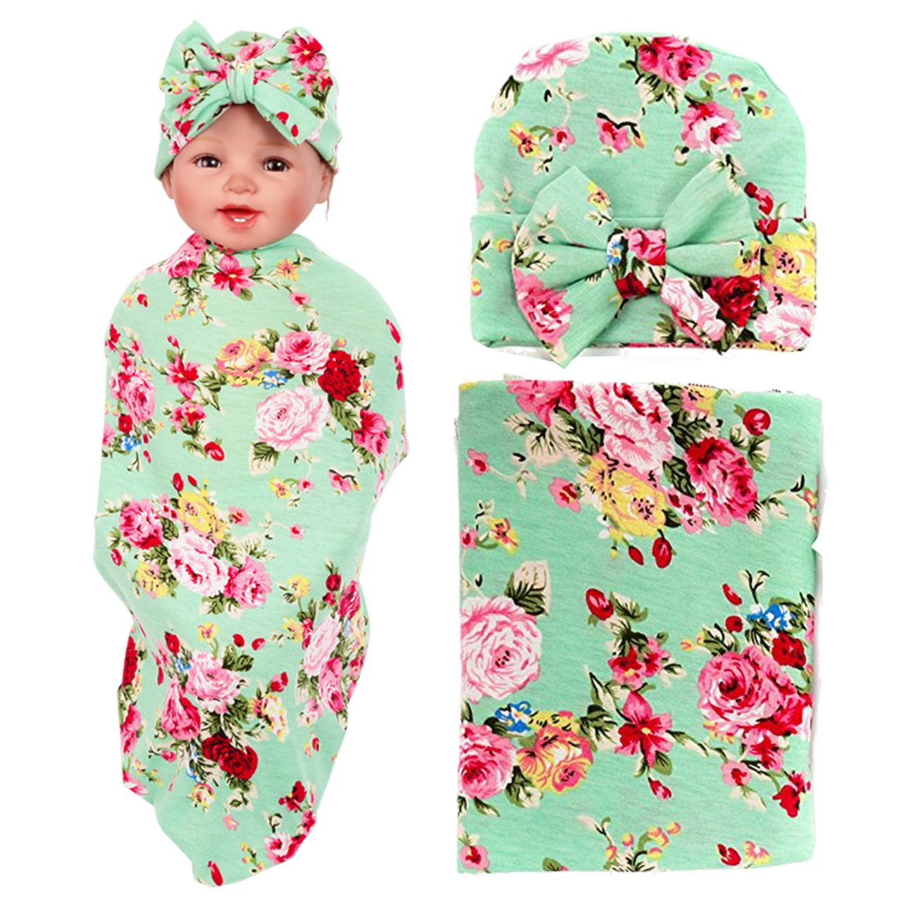 1 Pack Newborn Floral Swaddle BQUBO Receiving Blanket with Headbands Hats Sleepsack Toddler Warm