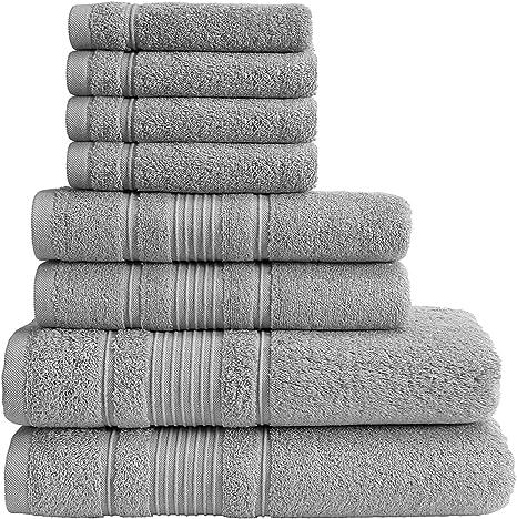 Amazon Com Qute Home Towel Set 2 Bath Towels 2 Hand Towels And 4 Washcloths Spa Hotel Towels Quick Dry 100 Turkish Cotton Towel Sets For Bathroom Shower Towel Grey Towel