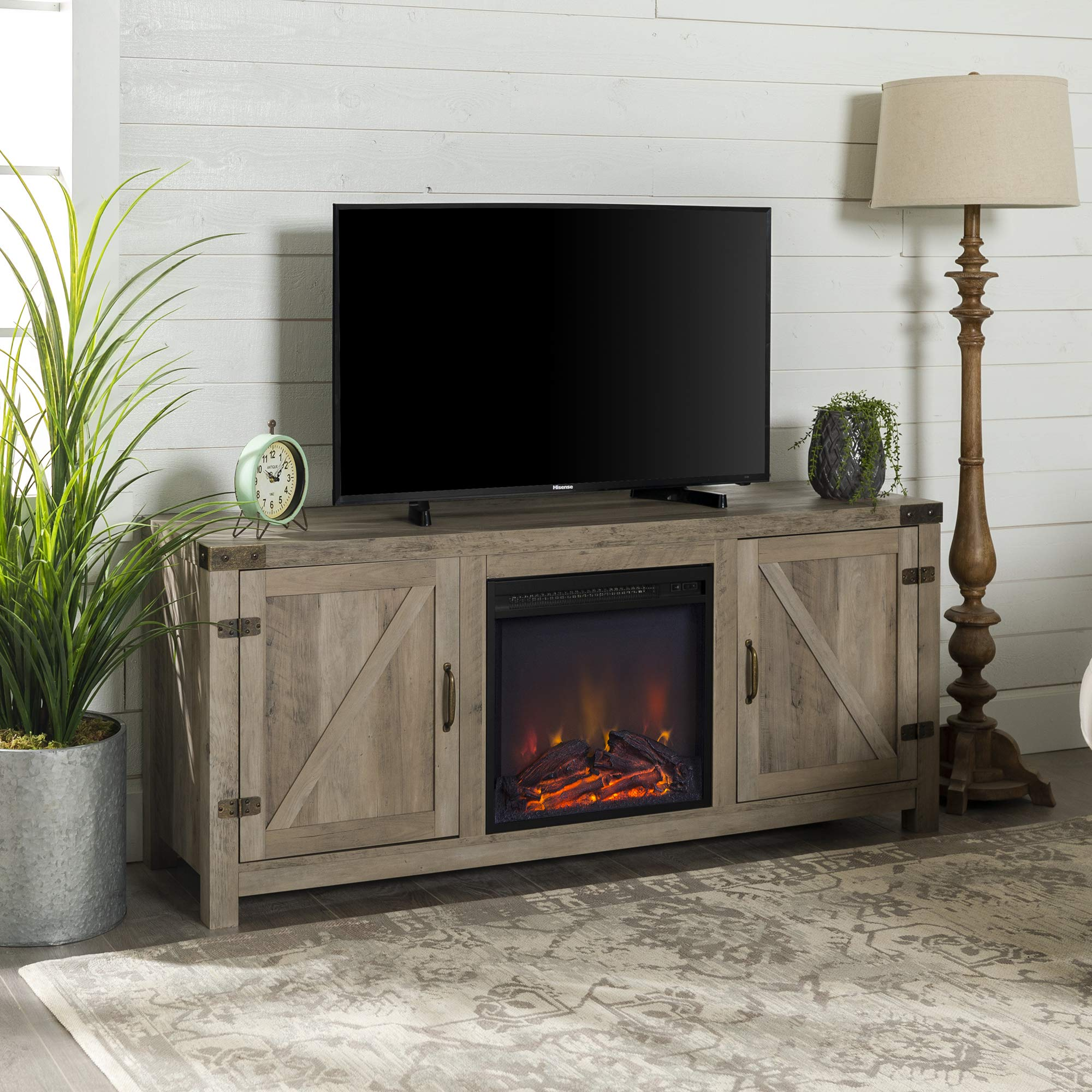 Home Accent Furnishings New 58 Inch Barn Door Fireplace Television Stand in Grey Wash Color by Home Accent Furnishings
