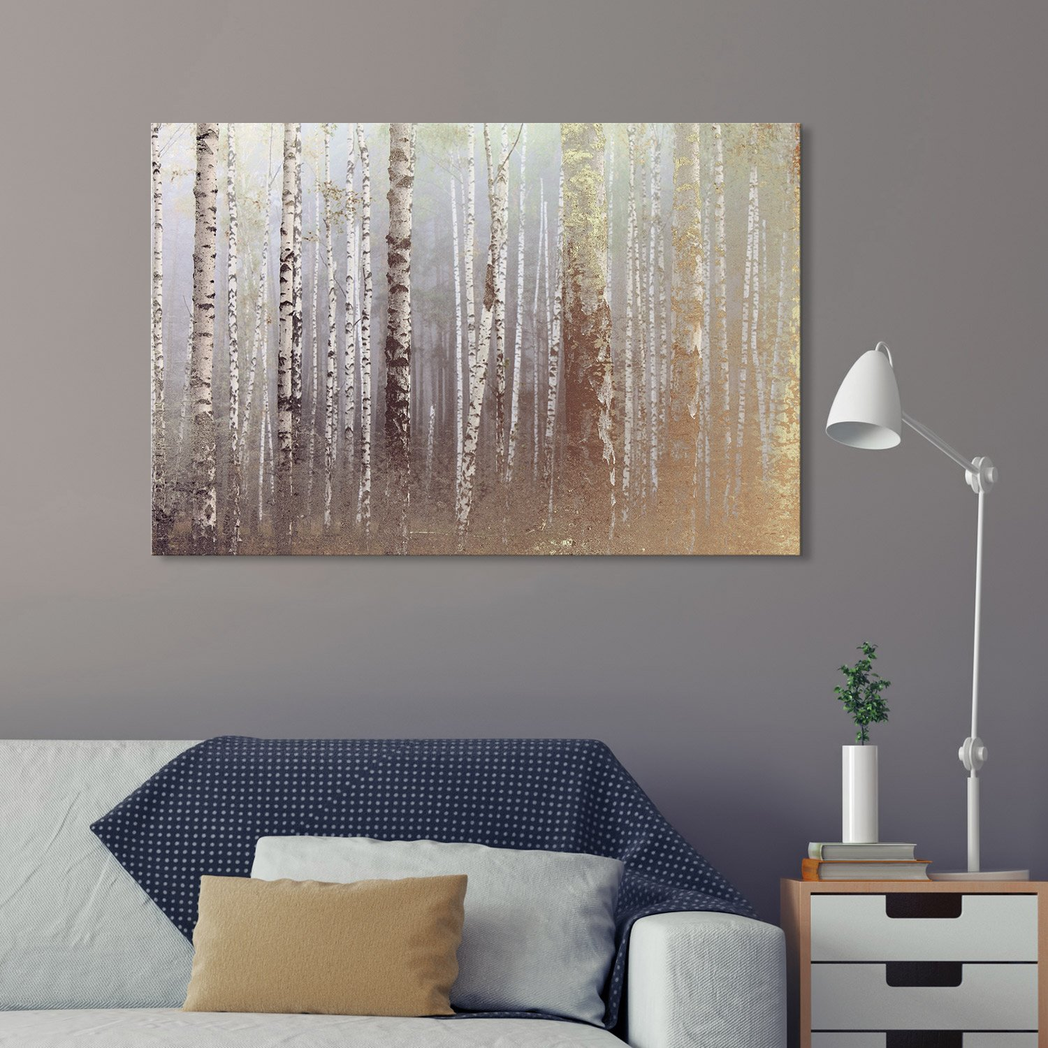 Canvas Wall Art - Birch Trees Forest on a Foggy Day - Giclee Print Gallery Wrap Modern Home Art Ready to Hang - 16x24 inches