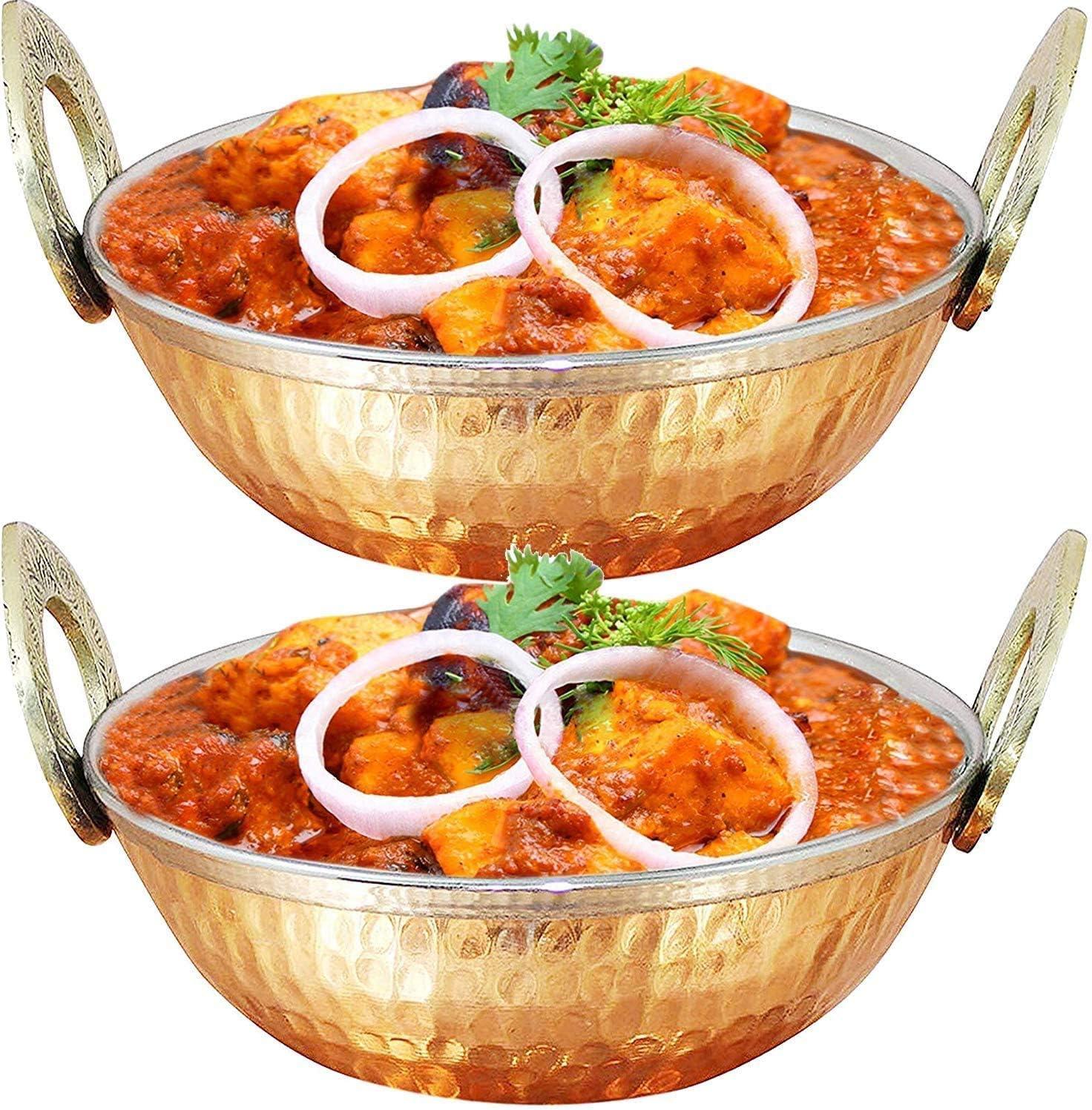 di/ámetro: 17,78 cm Juego de 2 cuencos para cena de verduras Karahi de cobre indio con mango de lat/ón macizo para comida india 7 pulgadas Whopper