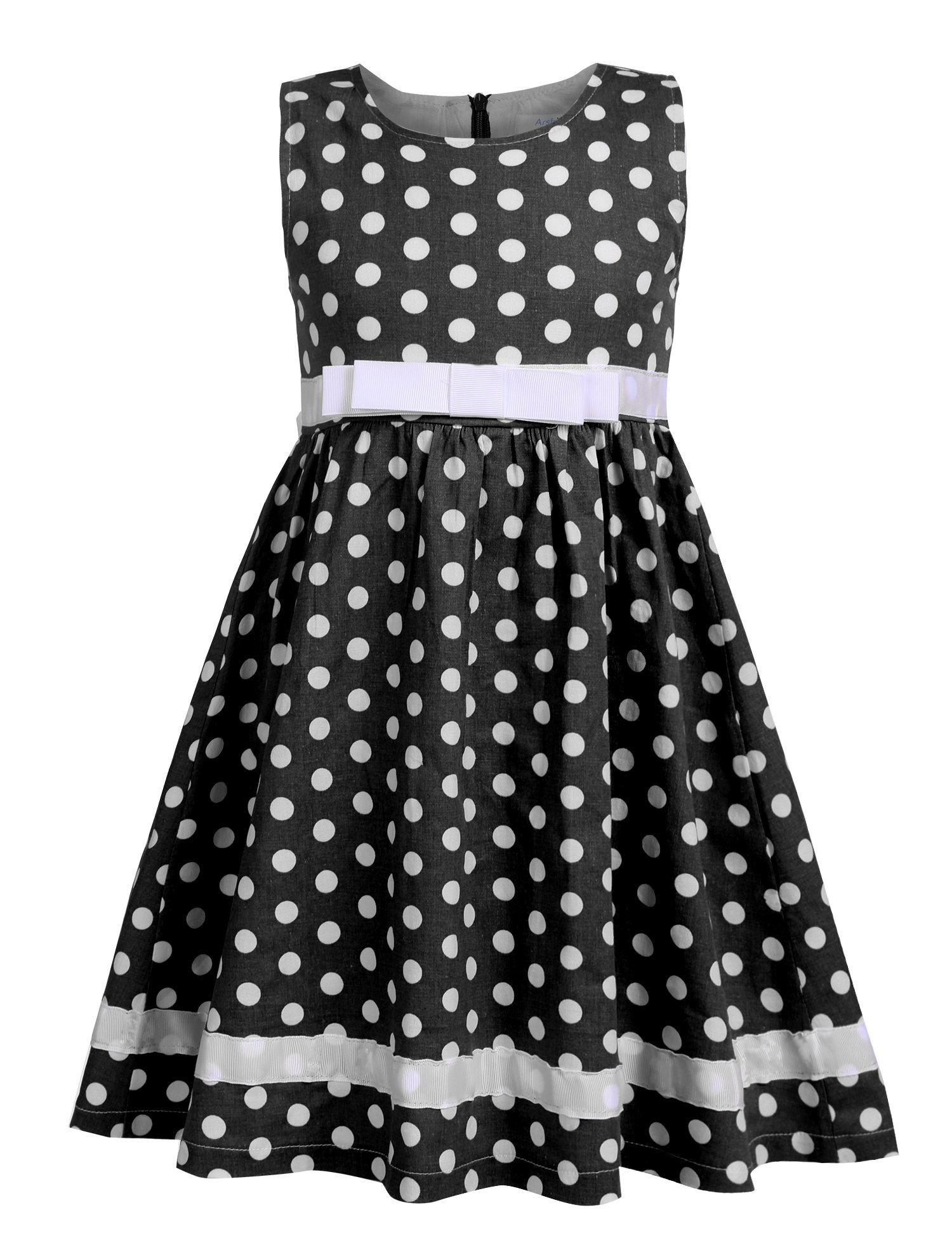 Arshiner Toddlers Little Girls Sleeveless Cute Dots Floral Print Tea Length A-Line Dress with Belt,Black,120(Age for 6-7Years)