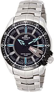 Casio Mens Quartz Watch, Analog Display and Stainless Steel Strap EF-130D-1A2, Black