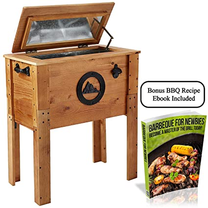 Backyard Expressions Standing 45 Quart Wooden Outdoor Patio Cooler Free Bbq Recipe Ebook To Help With Party Meal Planning Among The Best Gifts