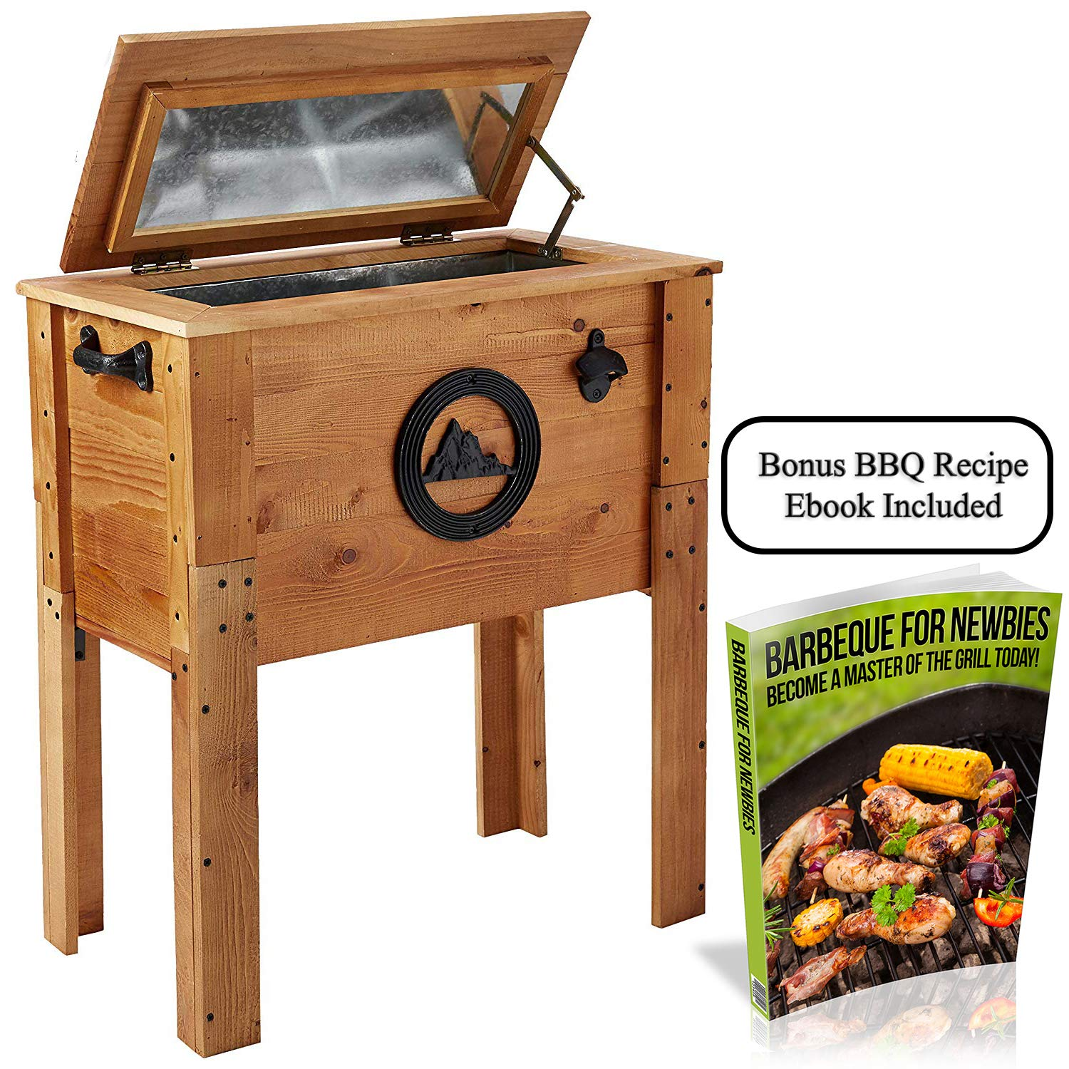 Backyard Expressions - Standing 45 Quart Wooden Outdoor Patio Cooler - Free BBQ Recipe Ebook to Help with Party Meal Planning - Among The Best Gifts for Dad or Mom!
