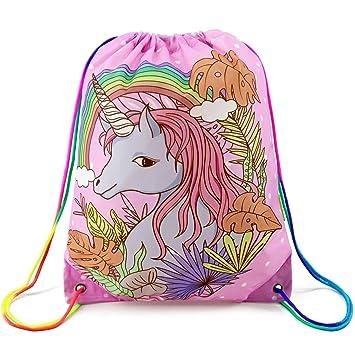 BeeGreen Unicorn Drawstring Bag Swim PE Backpack for Kids b762fc058d6b4
