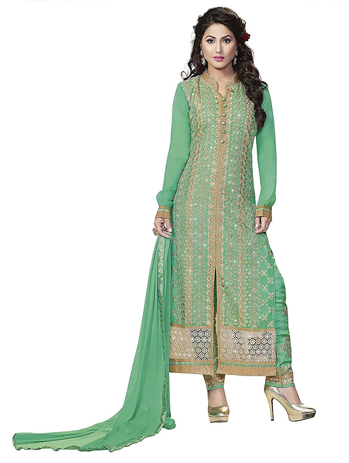 3ea68535b9 Amazon.com  Pista Green Pure Georgette Embroidered Long Churidar Straight  Cut Salwar Suit  Clothing