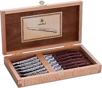 LAGUIOLE - Estuche de 6 cuchillos de mesa con mango de madera de pakka marrón - Acero inoxidable - Estuche de cuchillos de mesa para ofrecer en cualquier ocasión - madera de