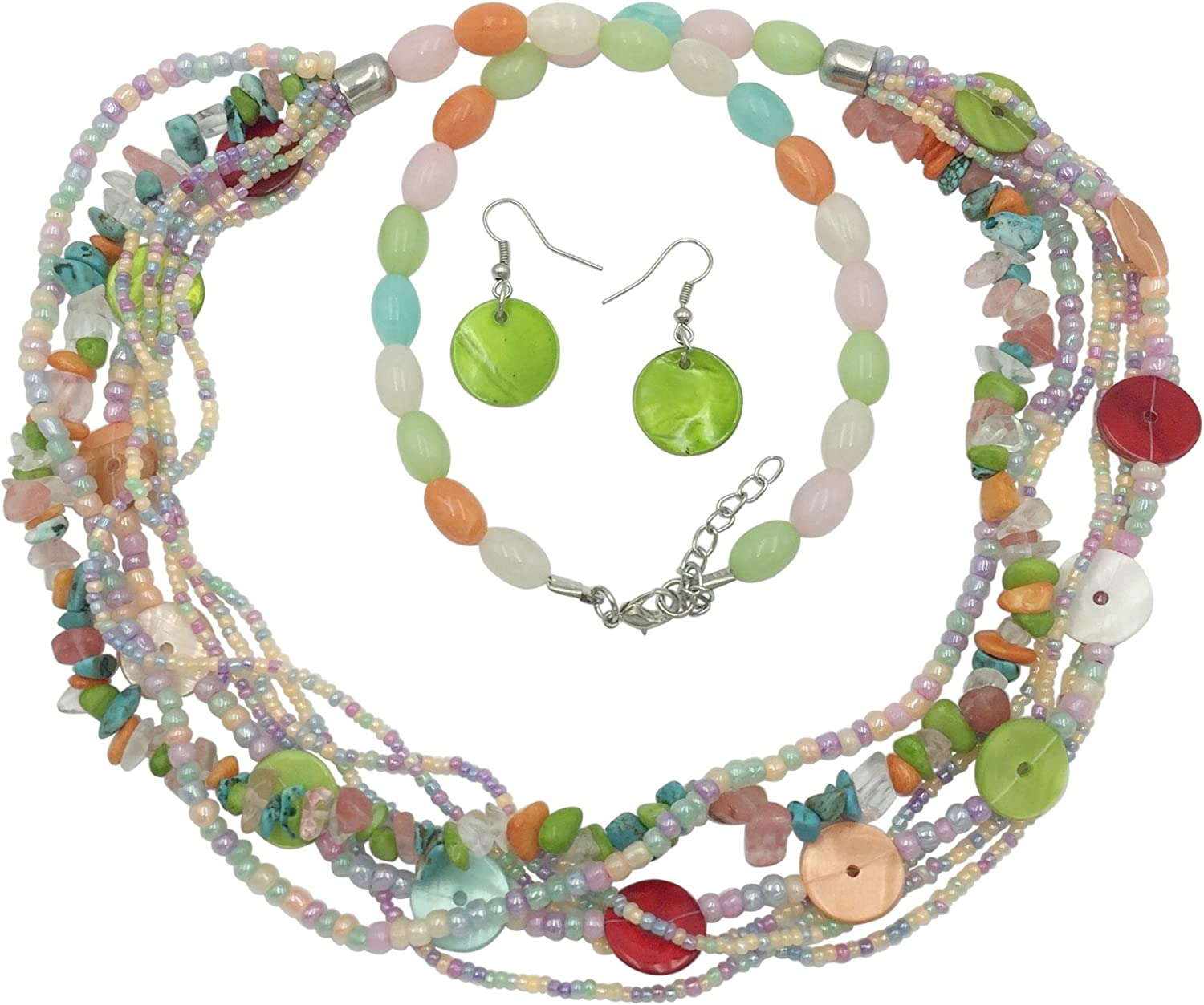 Festive Colors Sterling Silver Necklace Summer Fun Multi Color Mother of Pearl Shell Colorful Shell Earrings