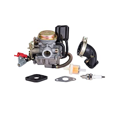 Hity Motor PD18J 18mm Carburetor for 4 Stroke GY6 49cc 50cc Chinese Scooter 139QMB Moped Engine for Taotao Kymco Scooter with Fuel Filter Spark Plug Intake Manifold and Adjusting Shims: Automotive