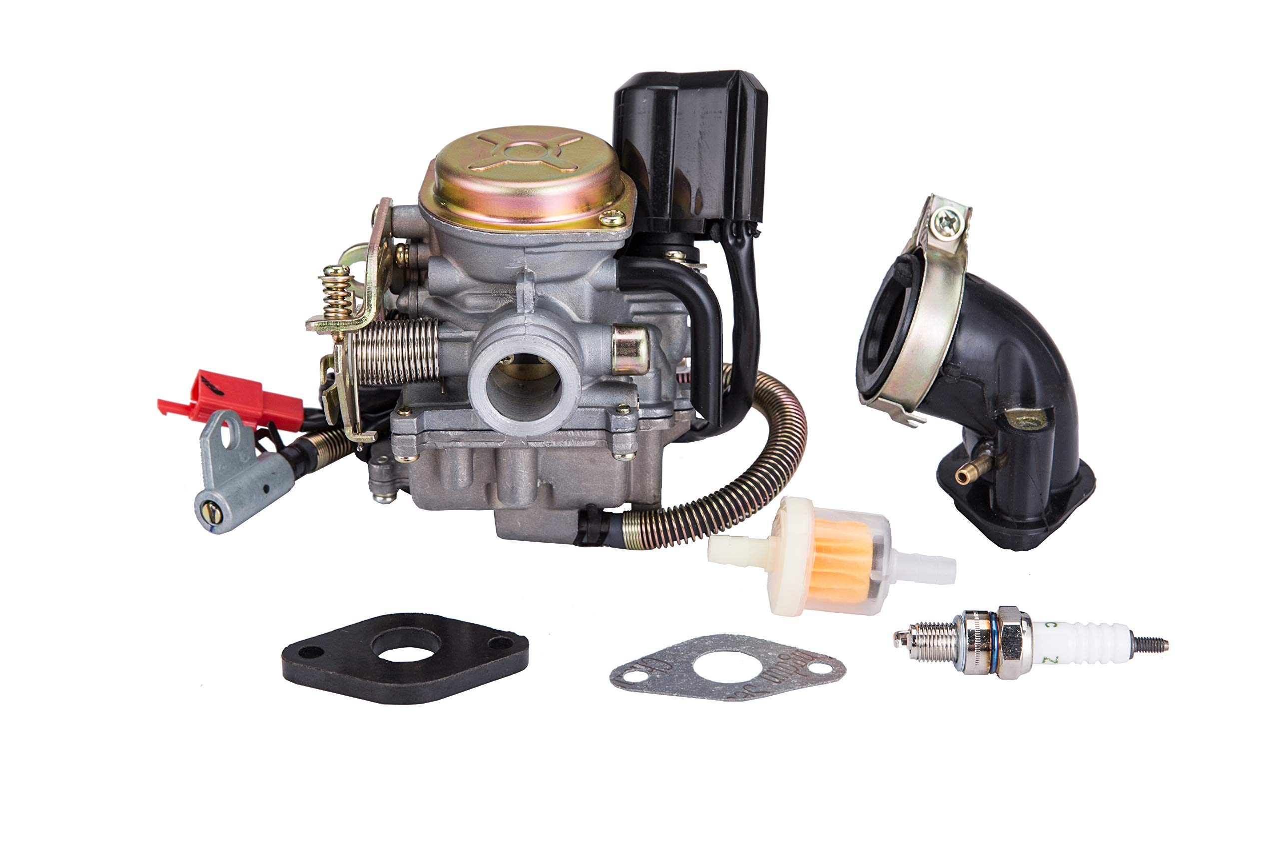 Hity Motor PD18J 18mm Carburetor for 4 Stroke GY6 49cc 50cc Chinese Scooter 139QMB Moped Engine for Taotao Kymco Scooter with Fuel Filter Spark Plug Intake Manifold and Adjusting Shims by Hity Motor
