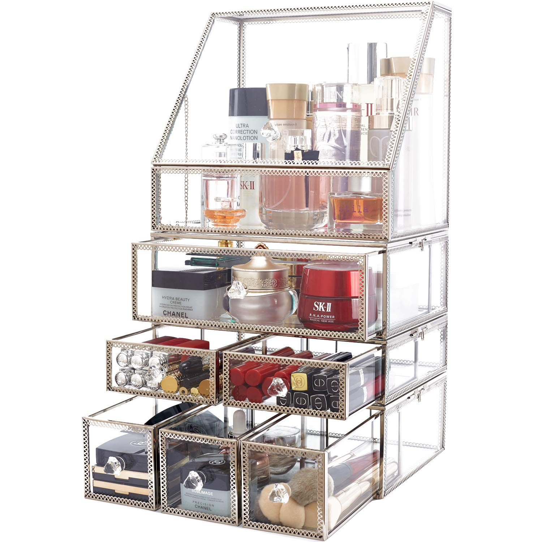 minopigo Antique Spacious Mirror Glass Drawers Set/Metal Cosmetic Makeup Storage/Stunning Jewelry Cube Organizer. It Consists of 4Separate Organizers Dustproof (04setSilver)