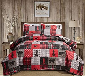Rustic Cabin Bear Bedding Red Black Plaid Patchwork Quilts Set Full/Queen Size,3Pcs Country Pine Tree Bear Paw Bedspreads Lightweight Reversible Lodge Coverlets with Pillow Shams