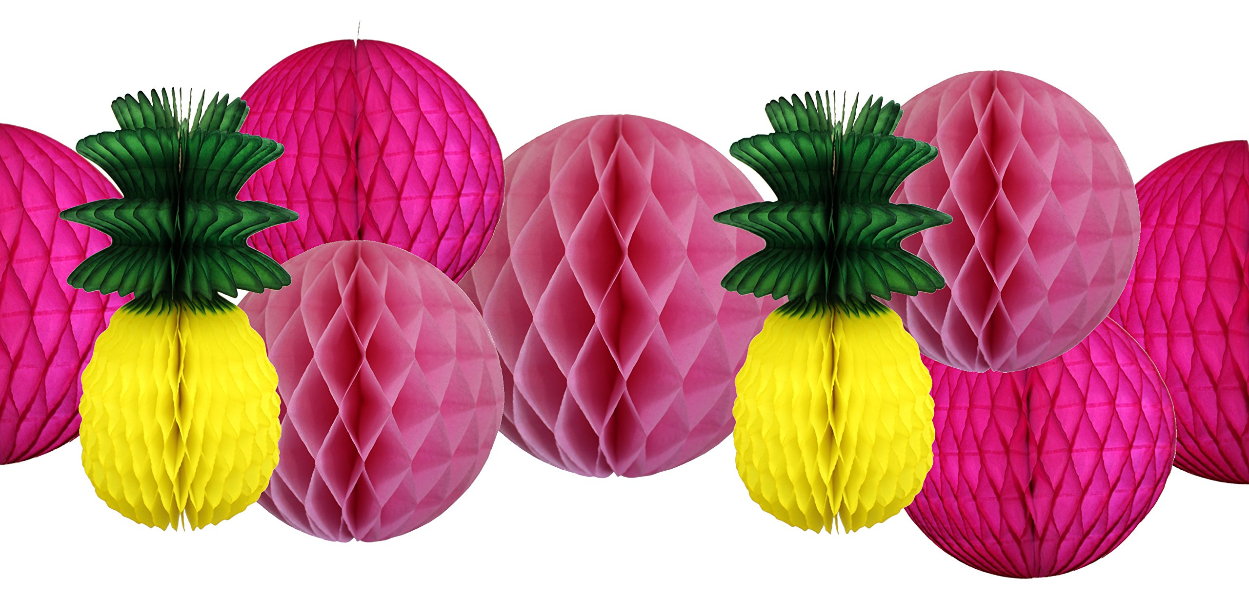 12-Piece Honeycomb Tissue Ball and Pineapple Fruit Party Decoration Kit (12 and 8 inch)