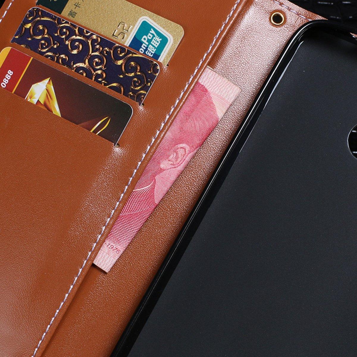 FindaGift Honor 8A Pro Flip Coque Antichoc Folio Housse avec Emplacements de Cartes Leather Case,Purplish Red magn/étique Leather Housse /Étui en Cuir /à Rabat Portefeuille Wallet Case