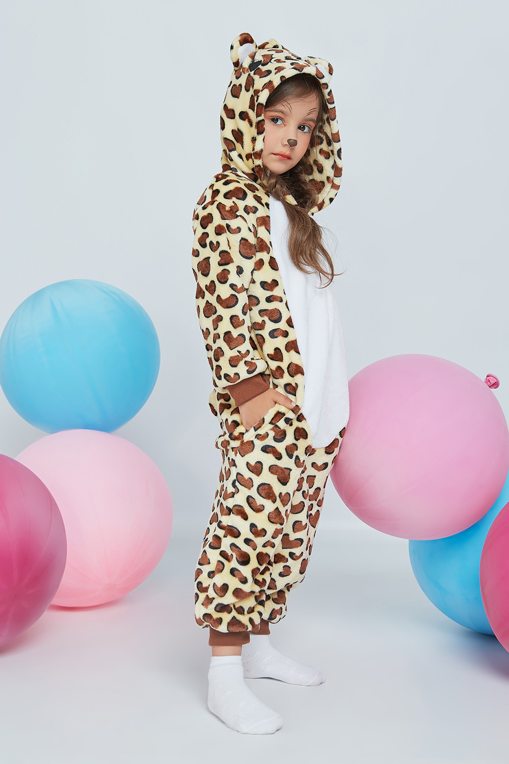 Kids Leopard Kigurumi Animal Onesie Pajamas Plush Onsie One Piece Cosplay Costume (Yellow, Brown, White) by Nothing But Love (Image #4)