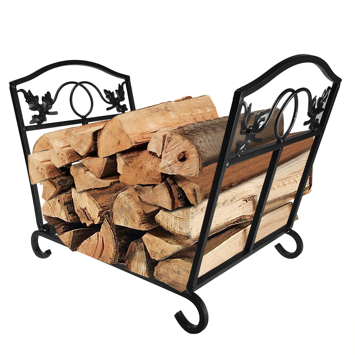 Fireplace Log Holder Wrought Iron Indoor Fire Wood Stove Stacking Rack Logs Bin Firewood Storage Carrier for Outdoor Fireplace Pit Decorative Wood Holders Fire Place Tools Accessories Black Amagabeli by AMAGABELI GARDEN & HOME
