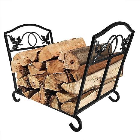 Chimenea Log Holder rack Fireset transportador de troncos de madera de abedul y soporte herramientas peltre leña ...