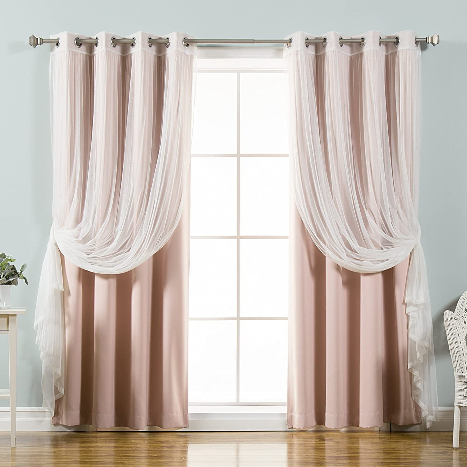 "Best Home Fashion uMIXm Mix and Match Tulle Sheer Lace and Blackout 4 Piece Curtain Set – Stainless Steel Nickel Grommet Top – Dustypink – 52"" W x 96"" L – (2 Curtains and 2 Sheer Curtains)"
