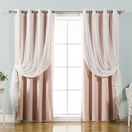 Best Home Fashion UMIXm Mix And Match Tulle Sheer Lace Blackout 4 Piece Curtain Set