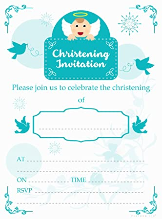 Angel Design Christening Invitations With Envelopes Pack Of 20