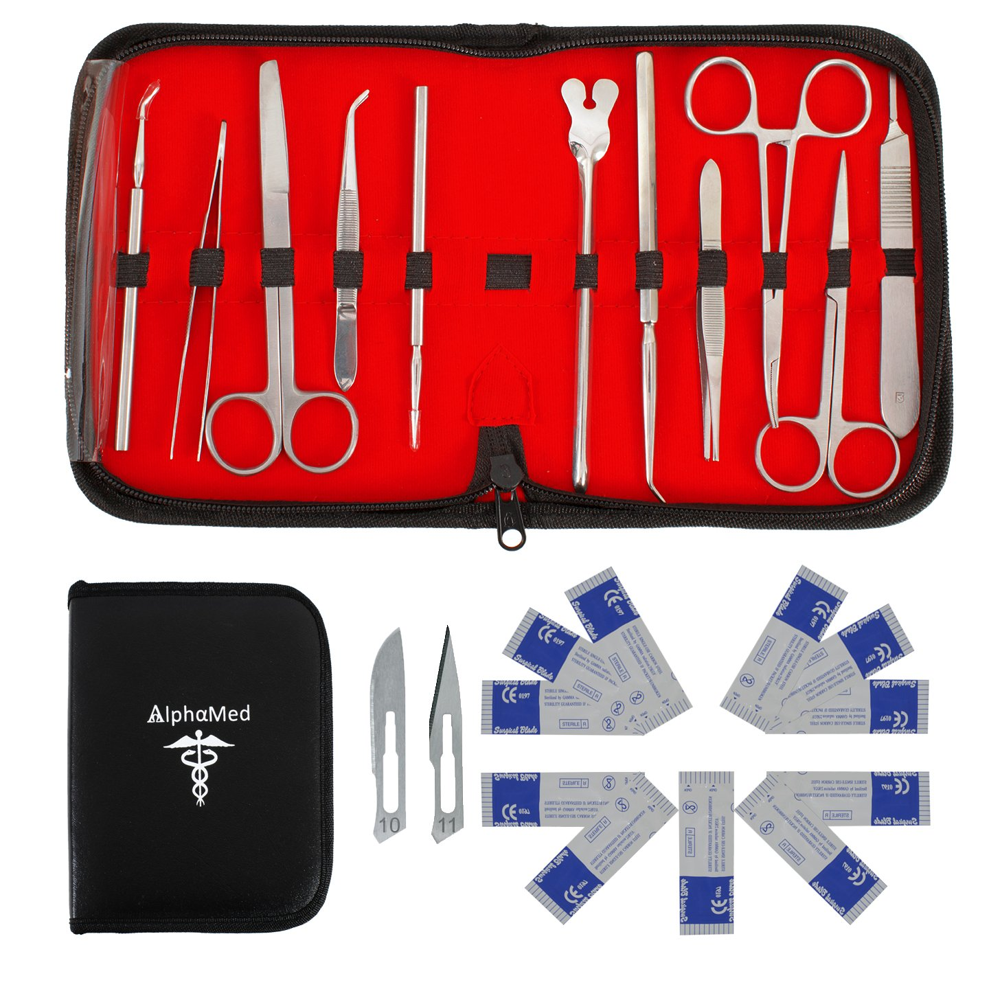 22 Pcs Advanced Dissecting Kit with Scalpel Knife Handle Blades and Stainless Steel Tools Set with Case for Dissection for Students and Teachers in Anatomy Botany Biology Medical Veterinary Entomology by AlphaMed