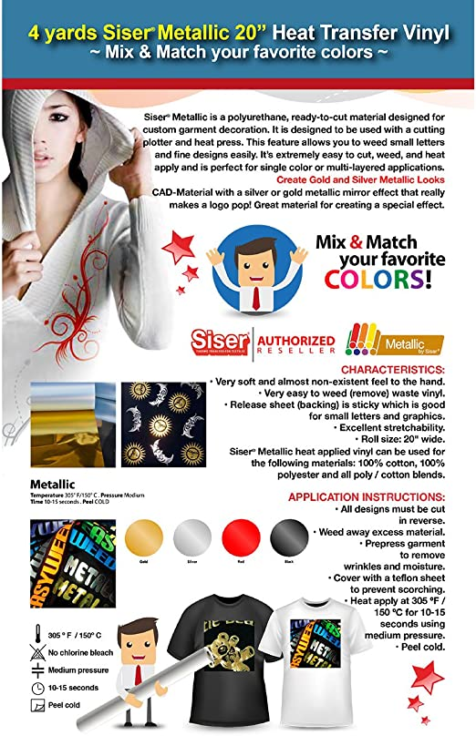 MIX /& MATCH YOUR FAVORITE COLORS 4 YARDS SISER METALLIC HEAT TRANSFER VINYL
