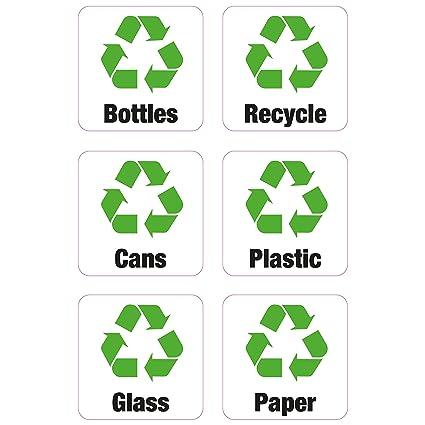 6 x cubo de reciclaje de latas de pegatinas de vinilo tienda negocios casa botellas papel