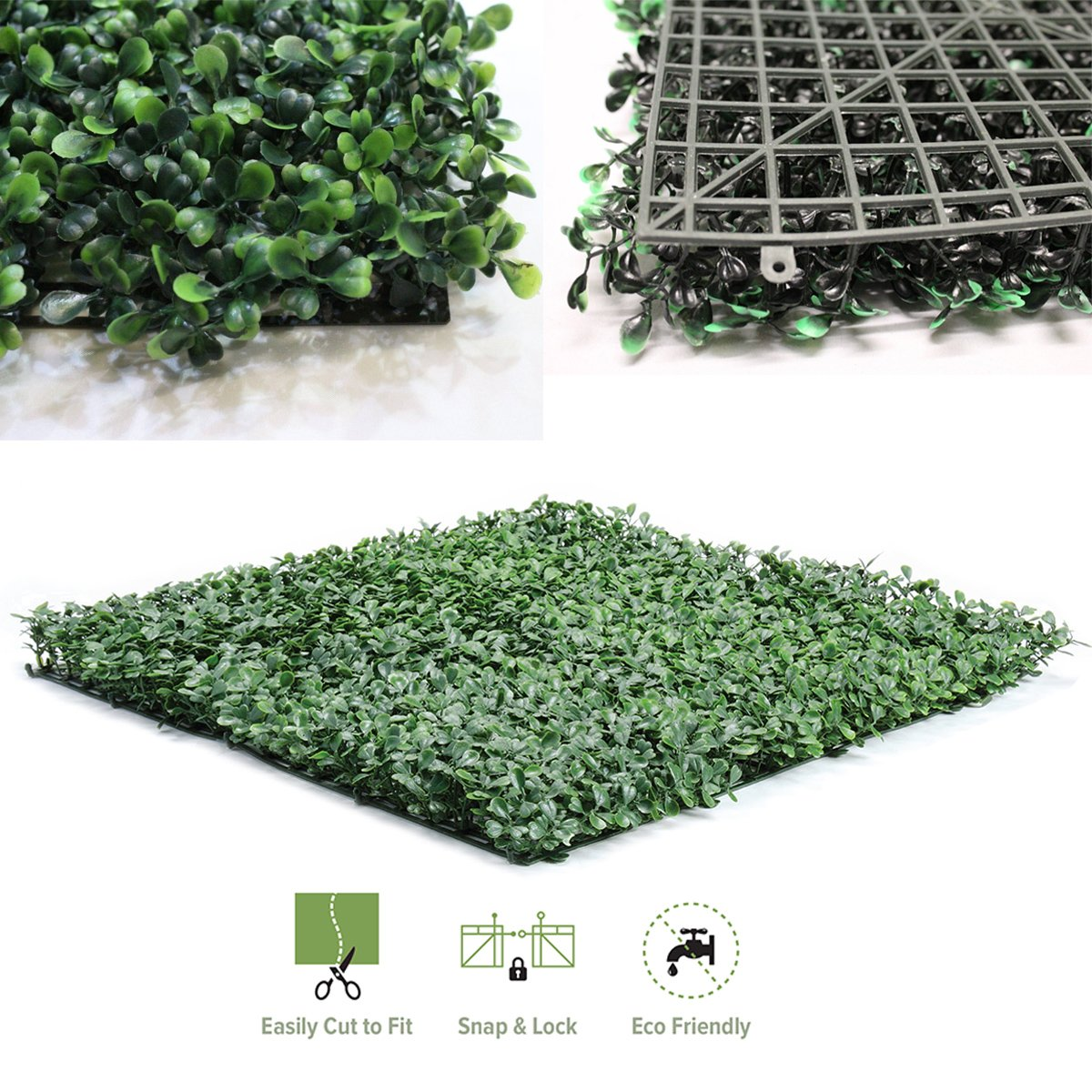 Artificial Boxwood Hedge Privacy Fence Screen Greenery Panels - Two Tone Green (50x50cm 1 Piece Sample) Grace Tech