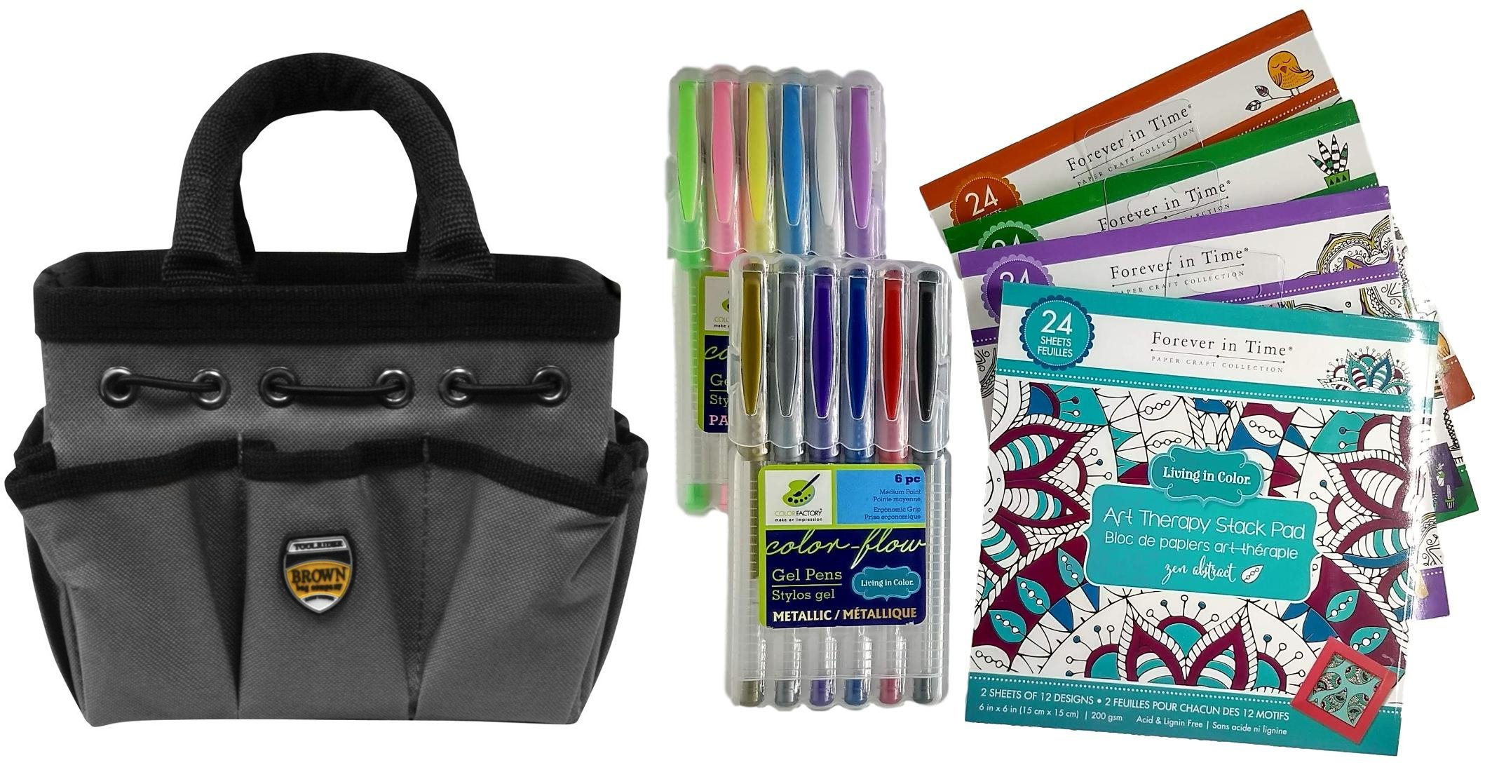 Coloring Books Gift Set for Teens and Adults Art Therapy Kit: 4 Books, 12 Gel Pens and Artist Tool Bag 7 Piece Set