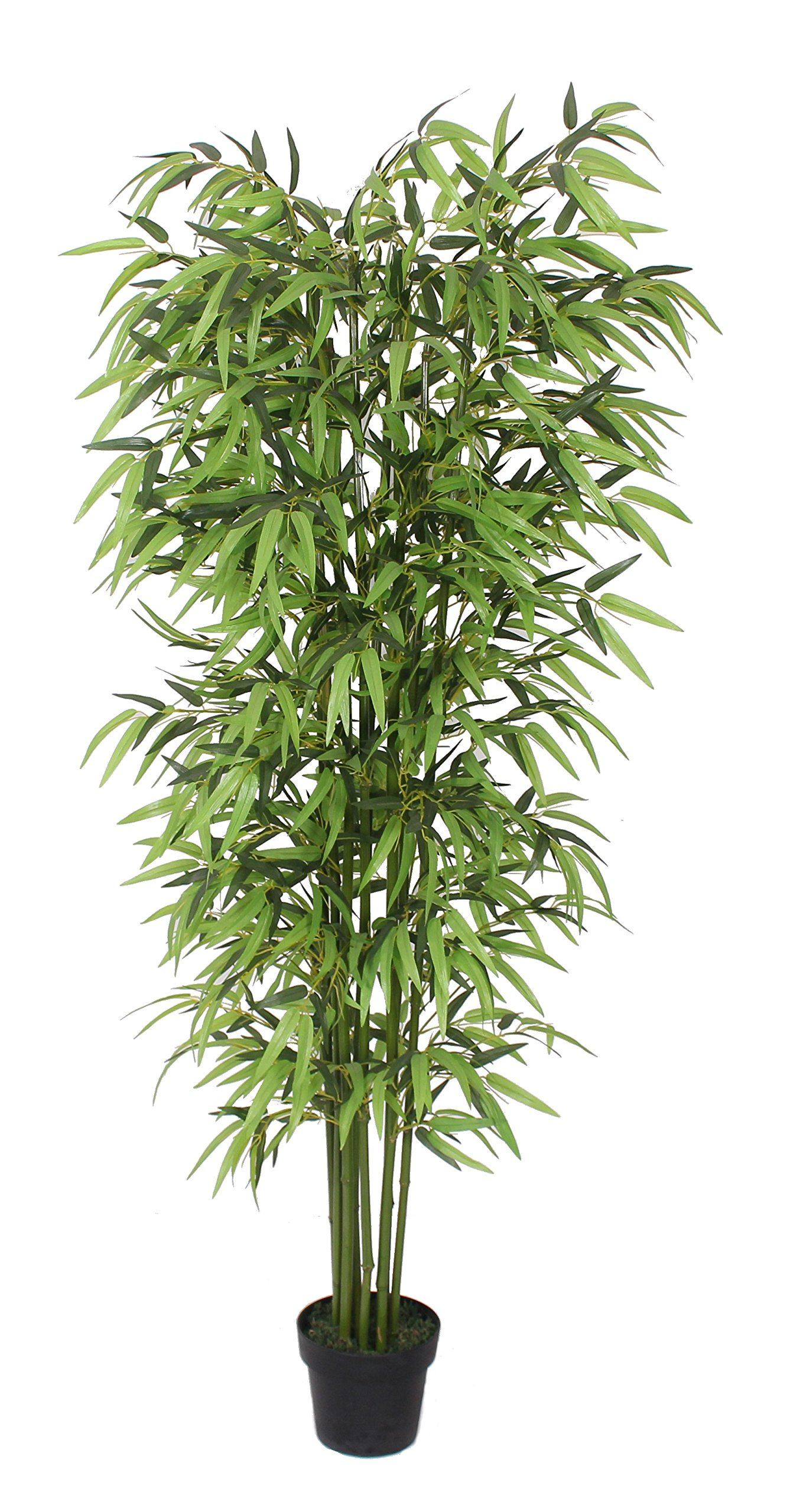 AMERIQUE Gorgeous 6 Feet Dense Bamboo Tree Artificial Plant w Nursery Plastic Pot, Real Touch Tech, w UV Protection, Unique 6 Technology Super Quality, 6', Green