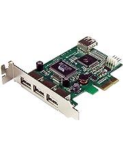StarTech.com PEXUSB4DP 4 Port PCI Express Low Profile High Speed USB Card, PCIe USB 2.0 Card, PCI-E USB 2.0 Card