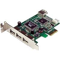 StarTech.com Carte Adaptateur PCI Express vers 4 Ports USB 2.0 - Carte PCIe - 3x USB A Femelle - 1x USB A Femelle Interne - 1x SP4 Mâle