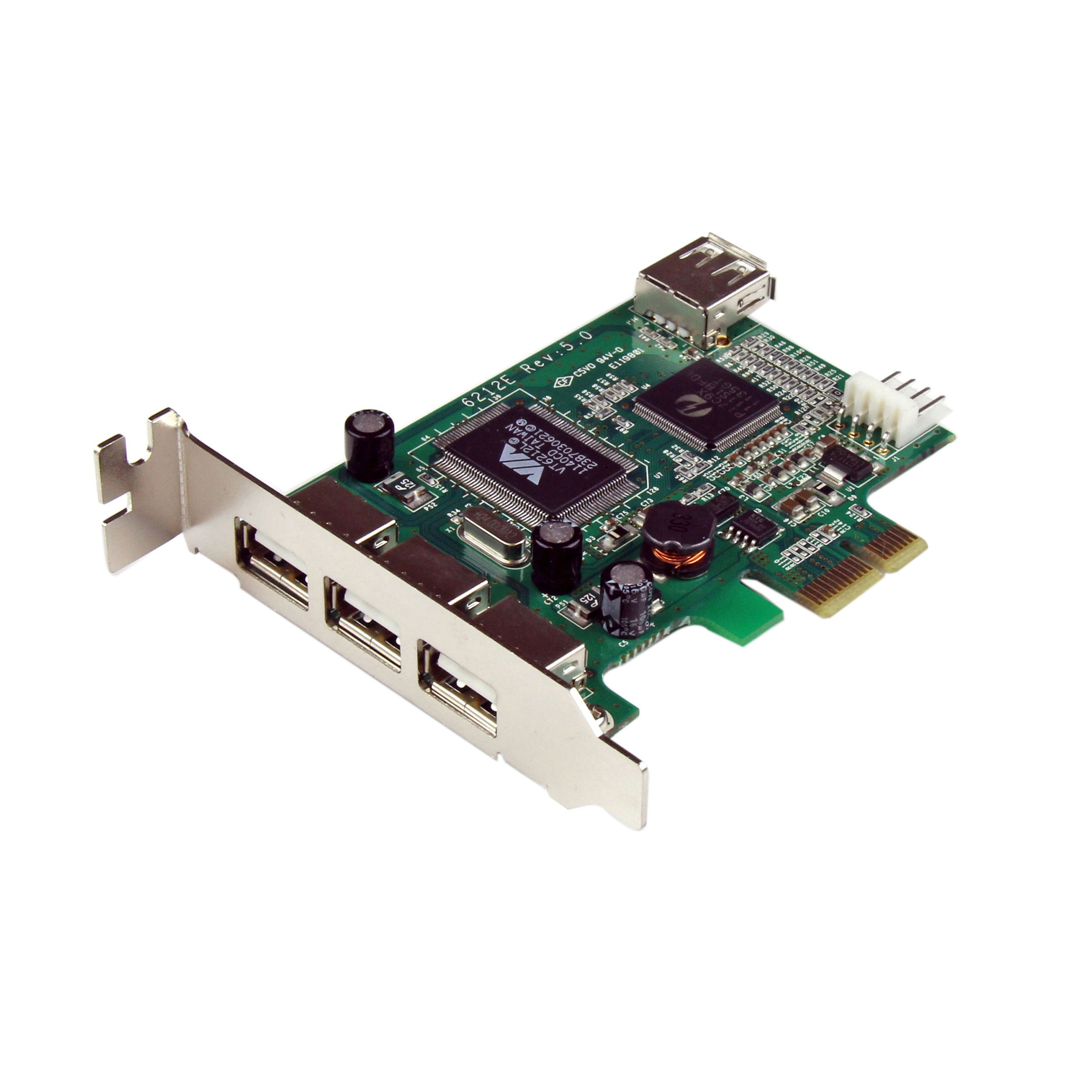 4 Port PCI Express Low Profile High Speed USB Card - PCIe US