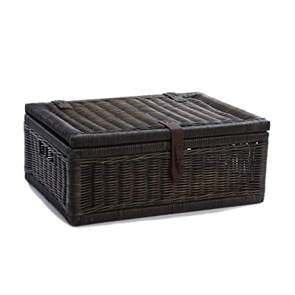 The Basket Lady Covered Wicker Storage Basket, Large, Antique Walnut Brown