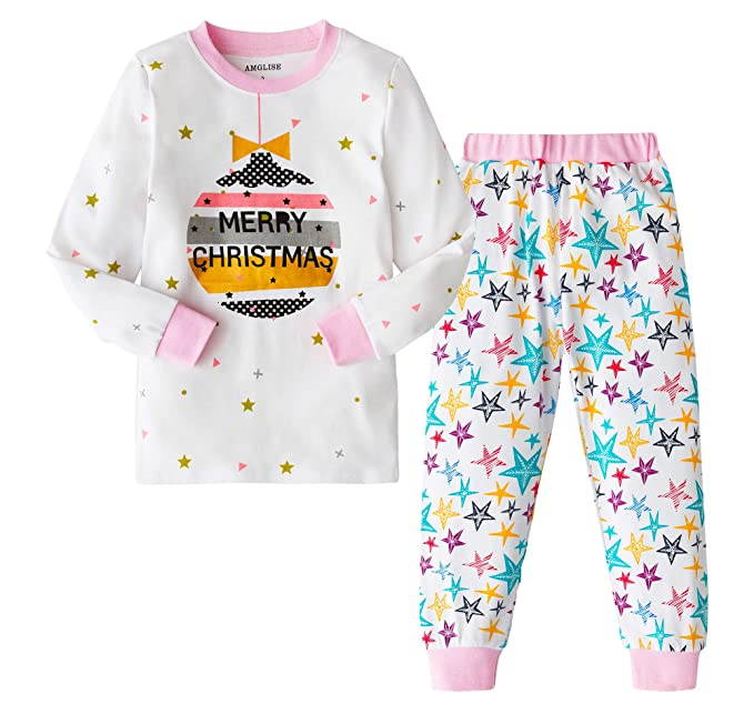 8e27343a34 AMGLISE Christmas Pajamas Set Christmas Balls Cotton Pajamas for Boys Girls  Kids Pjs Toddler Sleepwear 2T