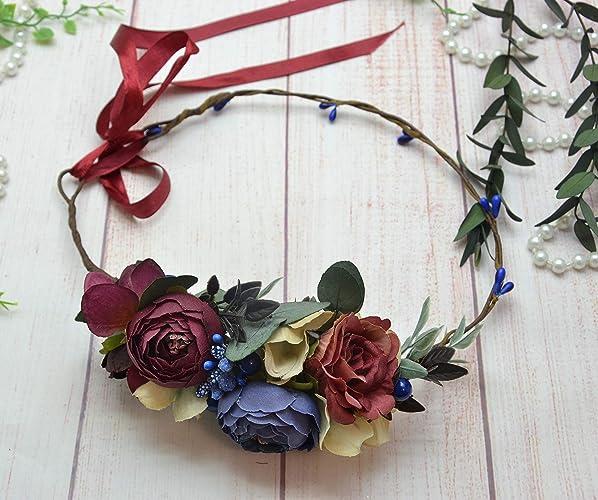 Amazon.com  Burgundy navy blue floral crown Bridesmaid floral headband  Bridal hairpiece Wedding halo  Handmade 8e8c80db436