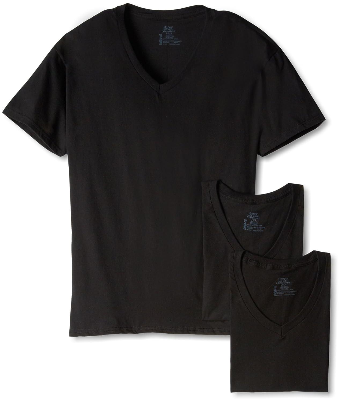 Hanes - Camiseta Interior - Manga Corta - para Hombre Negro Negro: Amazon.es: Ropa y accesorios