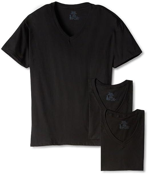 Hanes - Camiseta Interior - Manga Corta - para Hombre Negro Negro