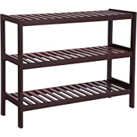 Songmics 3-Tier Bamboo Shoe Rack Bench (Brown)
