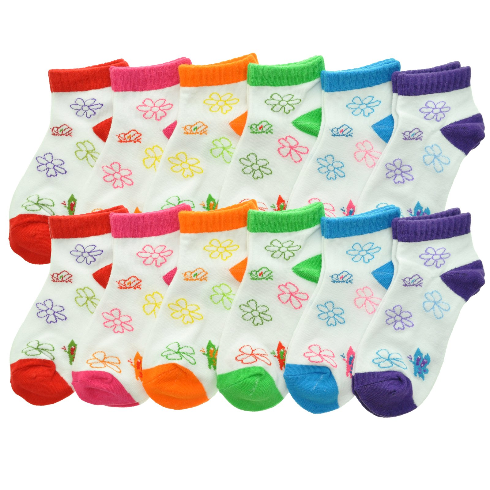 Angelina Cotton Low Cut Trainer Socks (12-Pack), 2305_BUT_6-8