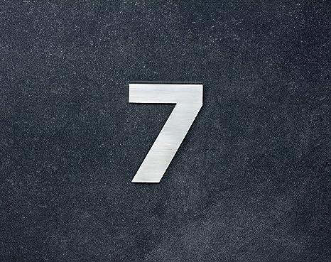 Herrajes EVI- Numero 7, adhesivo, 80mm, acero inoxidable AISI 316, pared, puerta, exterior