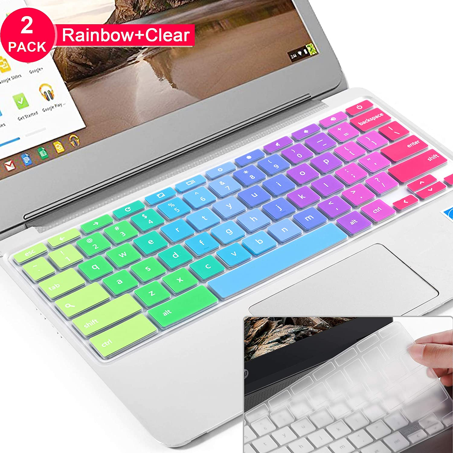 [2pcs] Lapogy Keyboard Cover for Dell chromebook 11.6 inch,Dell Chromebook 3100/3120/3180/3189/3181/5190,Dell chromebook Keyboard Cover 13.3,DELL chromebook 3380(Rainbow+Clear)