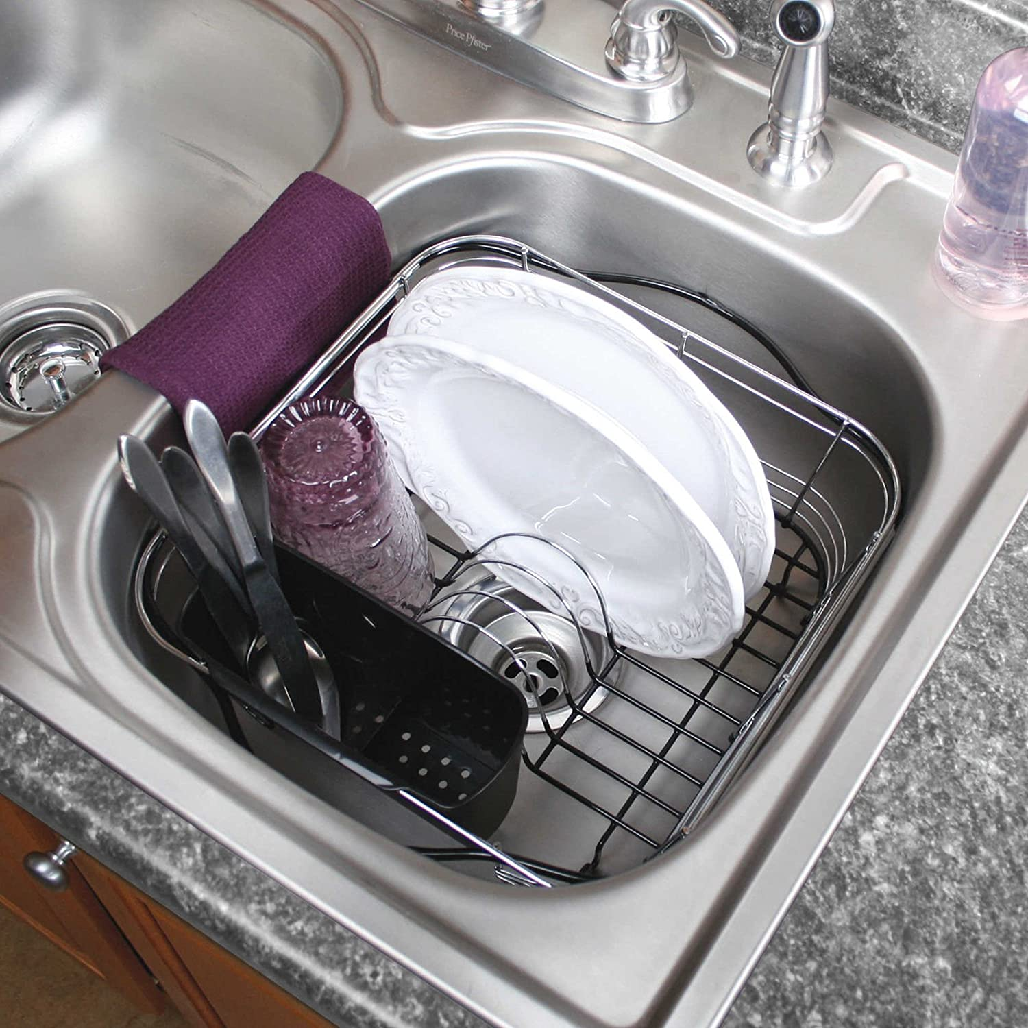 Amazon Com Expandable Dish Rack Drying Utensil Holder 3 In 1 In And Over The Sink Kitchen Dining