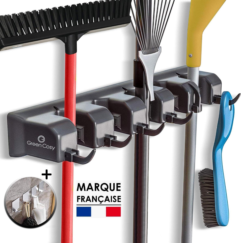 poussi/ère Balai et Balai RGRGH Support pour Brosse balayeuse Porte-Outils Organiseur de Rangement pour r/âteau 5 Positions et 6 Crochets Support Mural