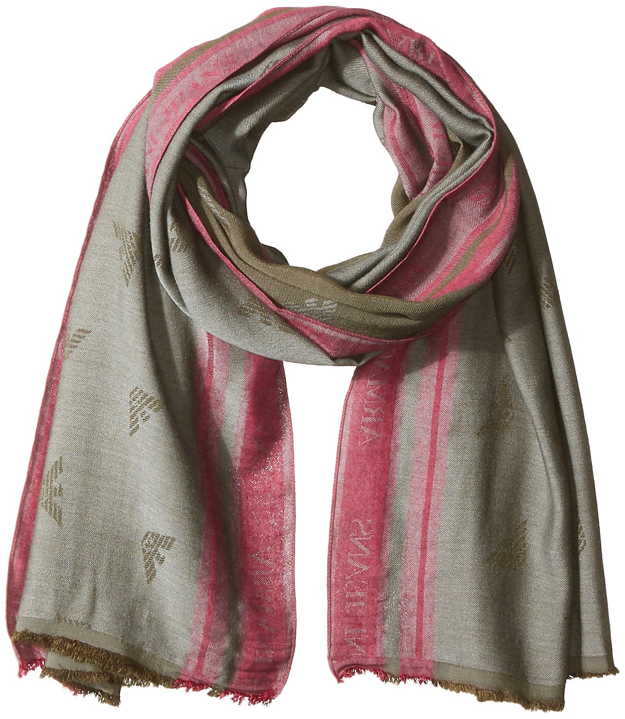 Armani Jeans Men's Viscose Fabric Scarf With Eagle Logo, green, ONE SIZE