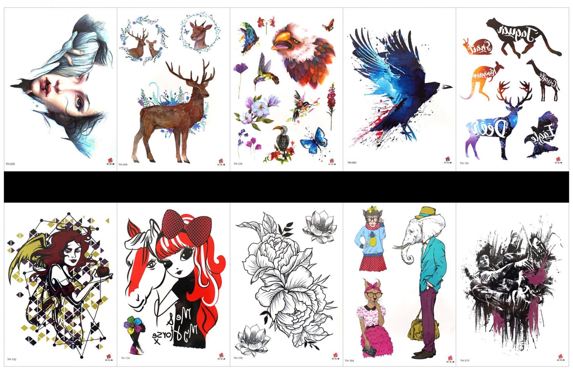 GGSELL GGSELL 10pcs tattoo eagle temporary tattoos in one packages,including beautiful lady,deer,flower with birds,eagle,deer,giraffe,kangaroo,flower,animal elephant,tiger,man,etc.