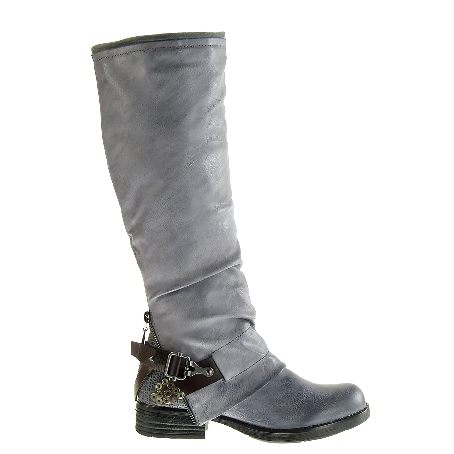 Angkorly - Women's Fashion Shoes Boots - biker - cavalier - braided -  studded - buckle Block Heel 3 CM: Amazon.co.uk: Shoes & Bags